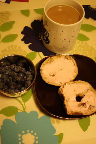 fresh blueberries, mini bagel, strawberry cream cheese, coffee