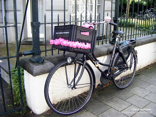 用啤酒箱當菜籃又用美麗花兒裝飾的腳踏車,一看就知道車主是女主人。