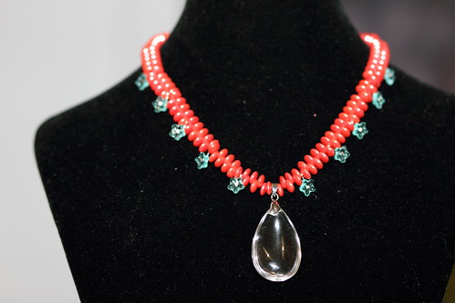 Coral and Floral Necklace by Creatively Motivated