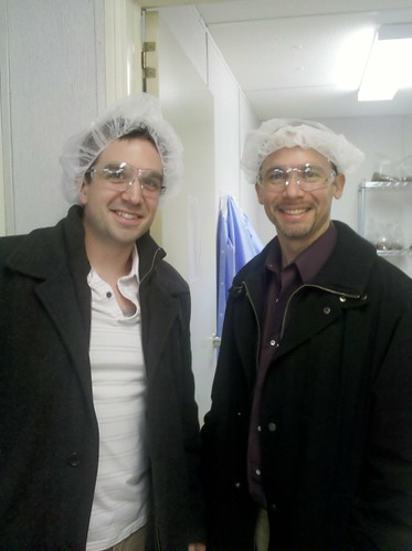 Lab Visit - ZJ and Ryan in Hair Nets