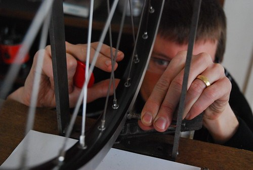 Andrew truing a wheel