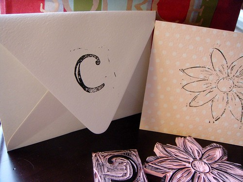 Envelope with monogram and card with flower