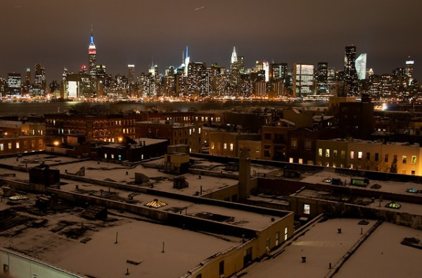 52/365 - Snowy North Greenpoint rooftops, Midtown Skyline.