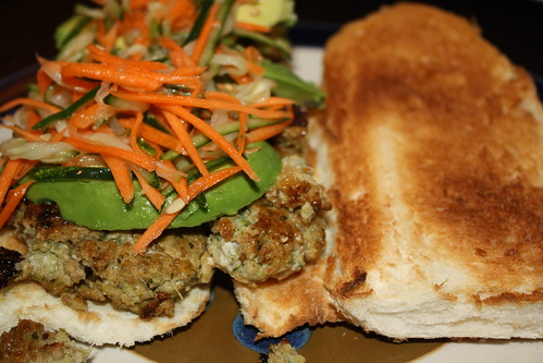 Thai chicken sausage sandwich
