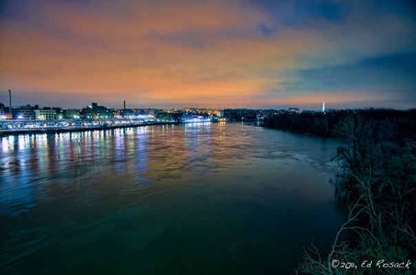 The pre-dawn Potomac River, Georgetown,  and Washington DC from the Francis Scott Key Bridge in Rosslyn, Virgina