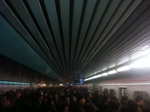 The scene when a packed train goes out of service on a packed platform #TTC #Bloor by Jamaalism