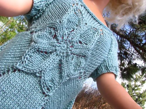 Test Knit:  Flower T-Shirt Seamless Back Close Up