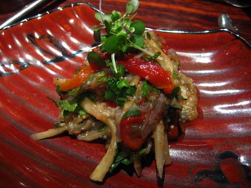 roasted Japanese eggplant, bell pepper and pickled ginger salad