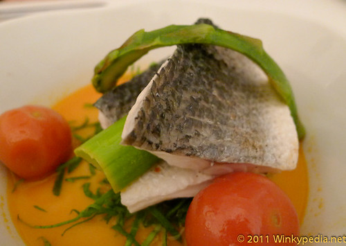 poached sea bass at Nopi