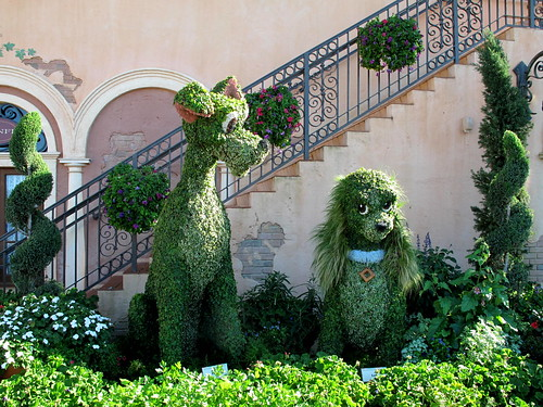 Lady & Tramp topiaries
