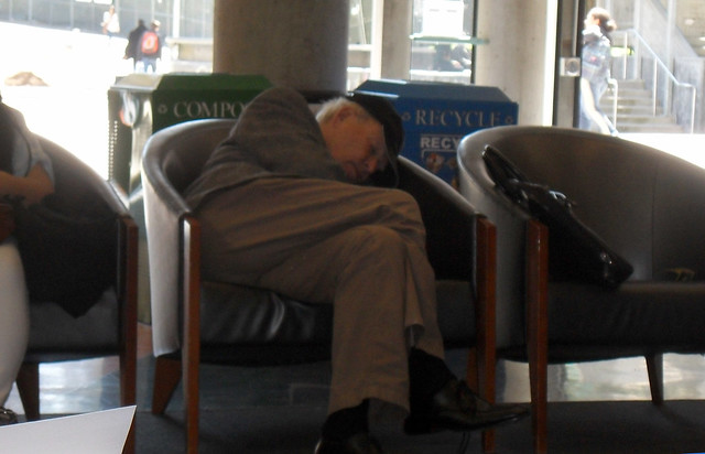 Another napper in the student center