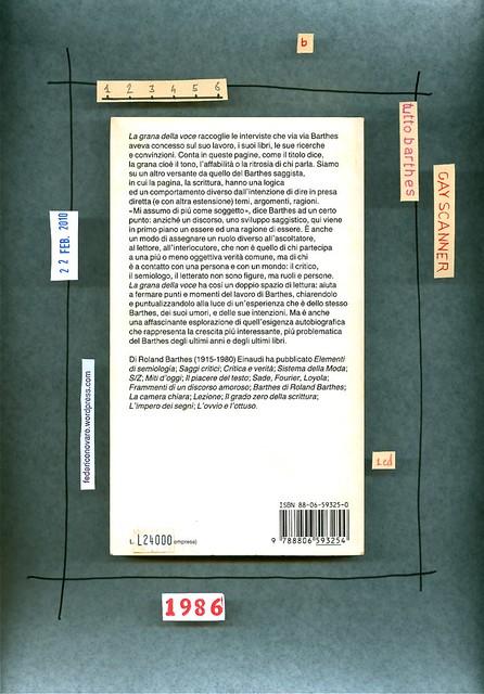 Roland Barthes, La grana della voce. Einaudi 1986. quarta di copertina