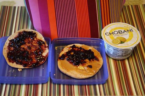peanut butter and jelly, lemon chobani yogurt