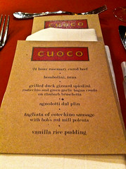 Cuoco Test Kitchen Menu