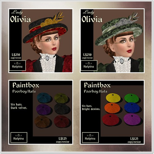 Hatpins - Lady Olivia and Paintbox Poorboy