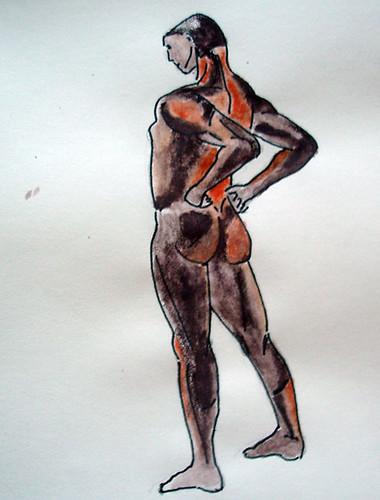 Man standing - Watercolour pencils