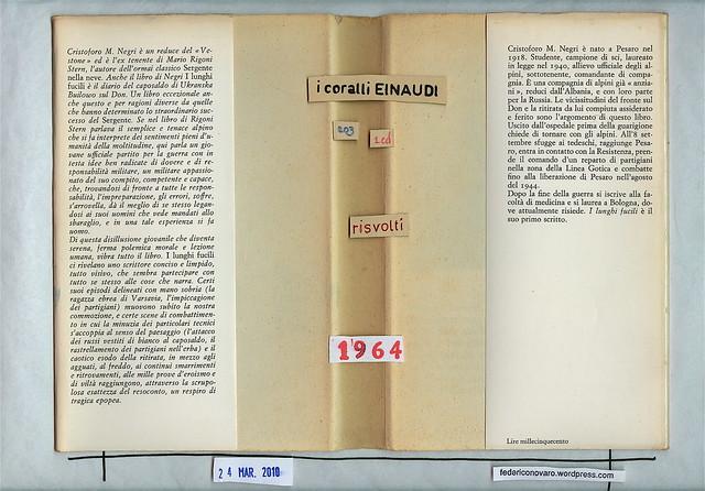 Cristoforo M. Negri, I lunghi fucili. Einaudi 1964. Risvolti di sovracoperta.