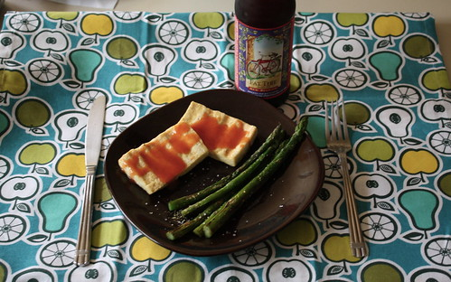 dinner-grilled tofu, asparagus and Fat Tire beer