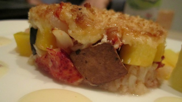 broiled lobster with mango & portabella at soto