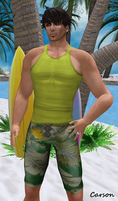 Urban Republic Green Swim Trunks & Yellow Tank