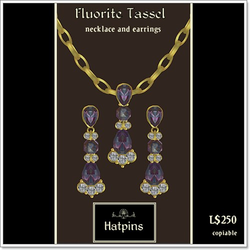 Hatpins - Fluorite Tassel Necklace and Earrings Set - Moody Monday Special