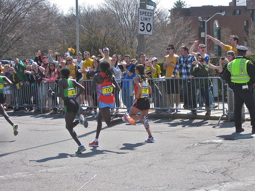 Boston Marathon 2011 near Boston College- Desiree Davila (far right) is on her way to 2nd place