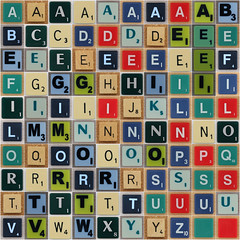 The 100 English Scrabble Letters