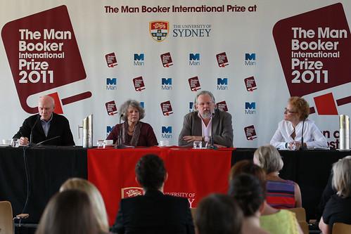List of Finalists Press Conference at the University of Sydney, l to r Justin Cartwright, Carmen Callil, Rick Gekoski, Fiammetta Rocco