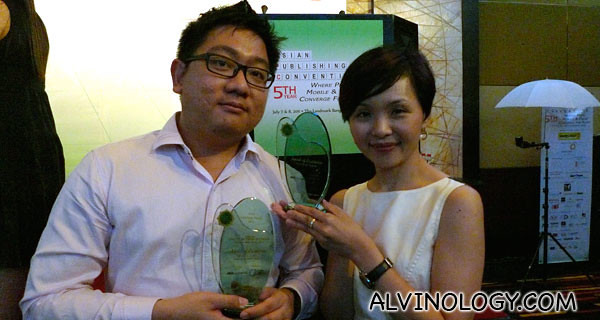 My boss, Kuan Fung and I with the two trophies