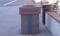 Wisdom. Trash.  I always find wisdom in a trash can.
