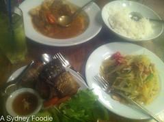 Pandan wrapped Chicken & som tum @ Yok Yor
