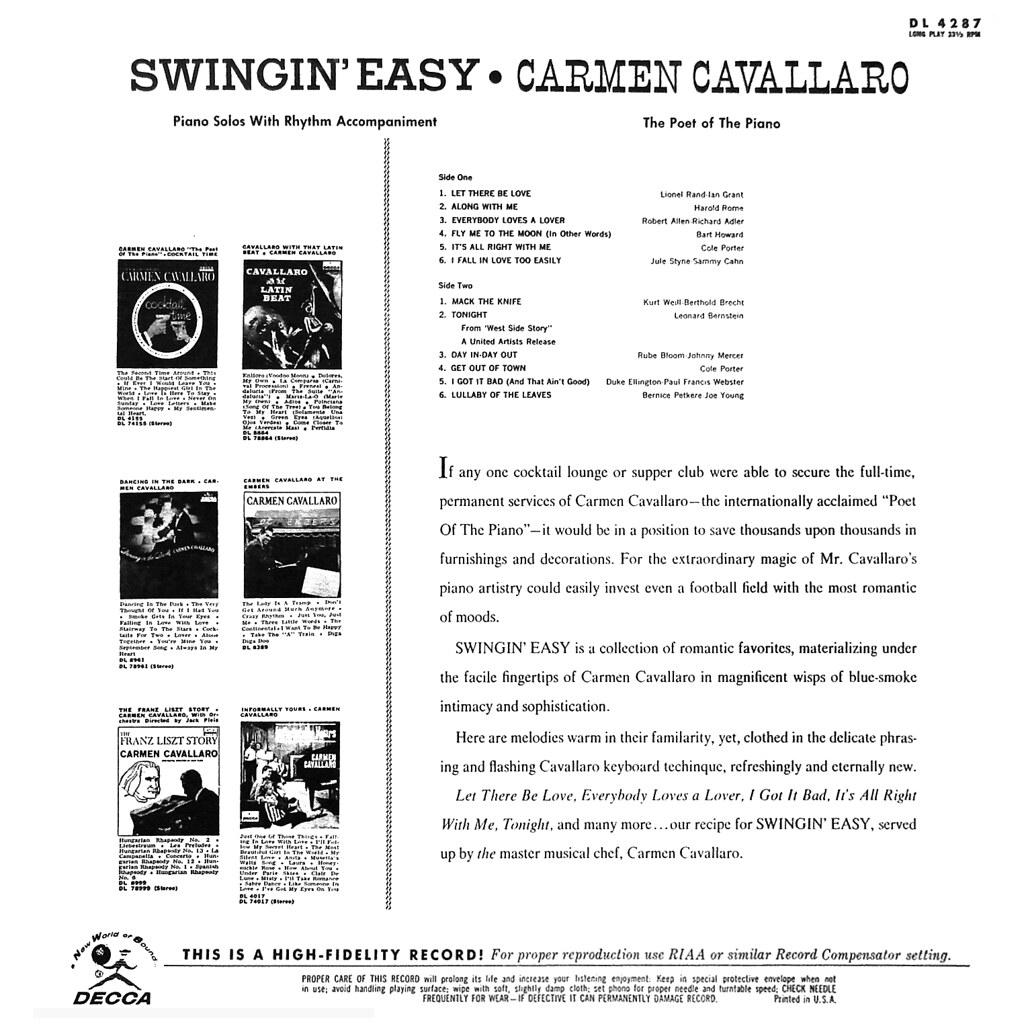 Carmen Cavallaro - Swingin' Easy