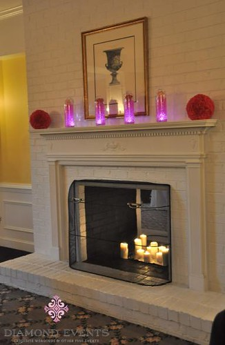 Fireplace Mantle at Rose Hill Manor with Flower Arrangments