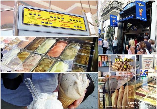 Charly Temmel的冰淇淋,在Graz街上生意很好,人潮排到店外來呢。