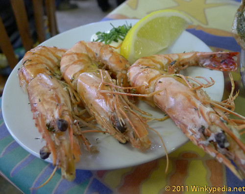 Grilled king prawns wiwth garlic mayonnaise at the Company Shed