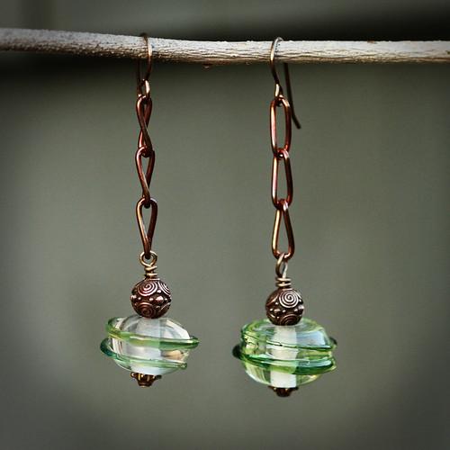 Funky, artisan created green glass earrings