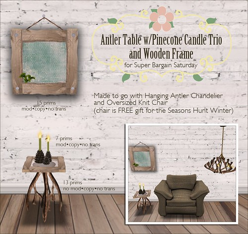 Antler Table w/Pine Cone Candle Trio & Wooden Frame