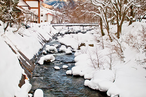 Snow in mountains in Japan