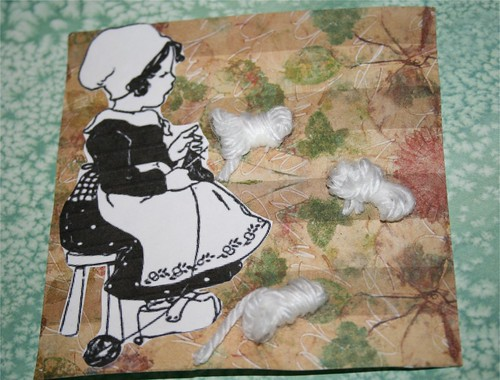 "Knit one, Purl one 4"" x 4 "" Collage card"
