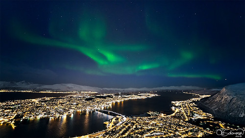My first post is my current last image, an overview shot of my hometown, the Arctic City Tromsø.
