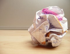 overcoming writer's block - crumpled paper on ...