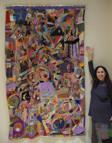 Alicia with her patchwork crazy quilt.jpg