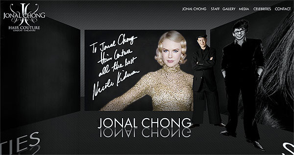 Nicole Kidman greets you on the homepage of Jonal Chong Hair Couture's official website