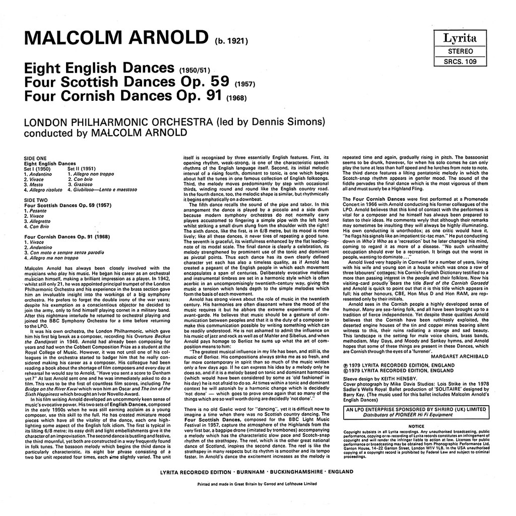 Malcolm Arnold - English, Scottish & Cornish Dances