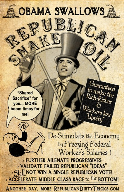 Obama Buys Republican Snake Oil Freezes Federal Pay Image