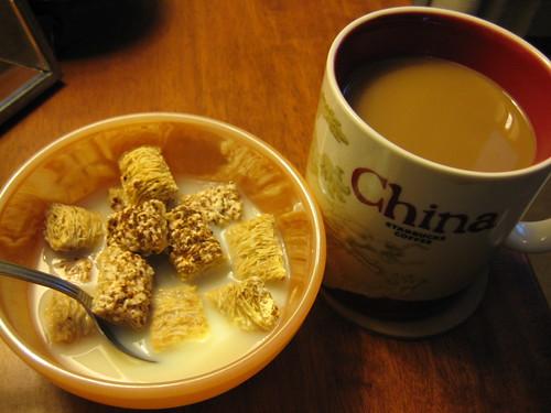 chocolate shredded wheat and coffee