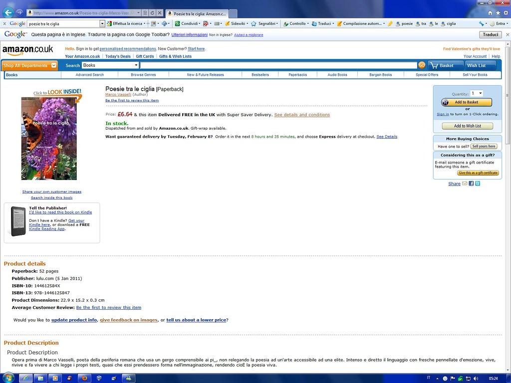 """"""" Poesie tra le ciglia """" su Amazon Il mio libro in vendita"""