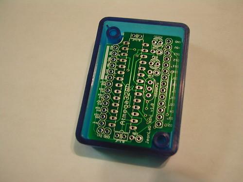 JeonLab mini v1.0 PCB in a bluebox