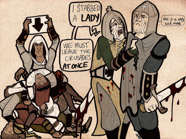 "Illustration by Markgraf of the ""crusades"" scene from Season of the Witch. Foreground: Nicholas Cage, in armour, grabs Ron Perlman, who is holding a bloodied sword, by the cloak ""lapels"". Speech bubble text: ""I STABBED A LADY. WE MUST LEAVE THE CRUSADES AT ONCE"". Ron Perlman speech bubble text, in small font: ""this is a very sad time"". Behind them, a pile of dead Saracen soldiers. A man resembling Altaiir from Assassin's Creed stands behind the bodies holding a sign with a large black arrow pointing at the pile, gestures angrily, and glares at Ron and Nick."