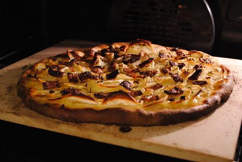 Potato pizza in the oven